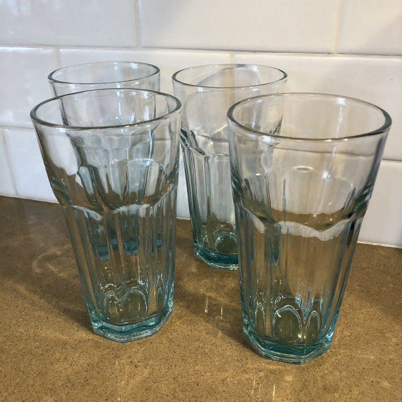 Aqua Glass Ware<br /> Aqua<br /> Size: Set Of 4