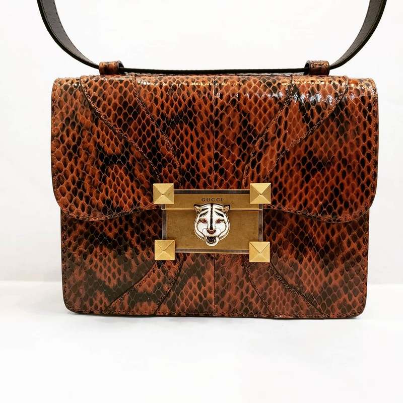 Gucci brown  Snakeskin Osiride shoulder bag. Retail Value $2500!