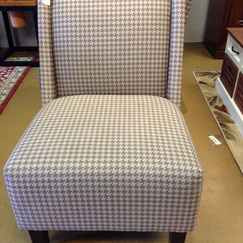 Houndstooth Slipper Chair, 33 in H x 28 in D x 24 in L<br /> Seat Height 18 in