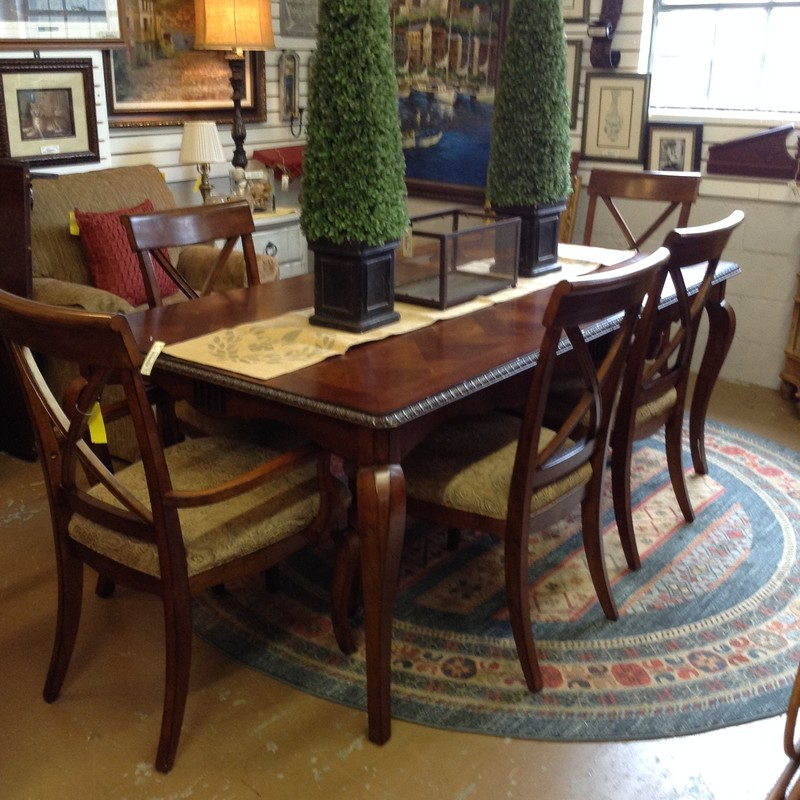 Lane Dining Table 8 Chair, 76.5in L (without leaf) x 102in L (with leaf) x 42.5in W x 30.5in H