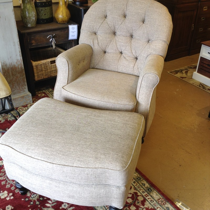 Beige Tufted Chair/ottoma, 32in L x  29in D x 40in H x 19in Seat Height<br /> (ottoman) 21in D x 28in L x 19in H