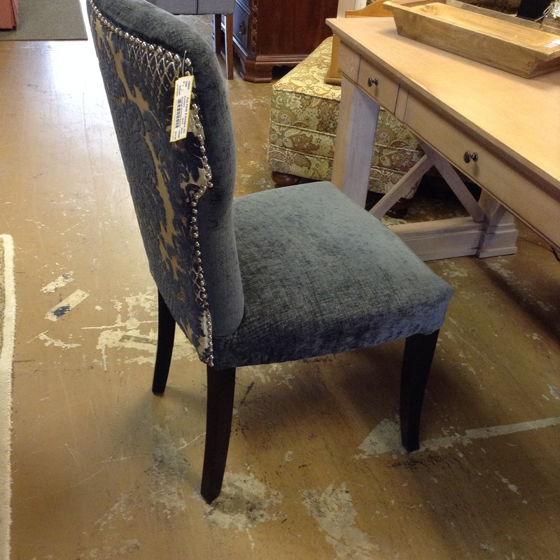 Gray/tan Damask Parson Chair, 40 in H, 19 in D x 20 in L<br /> Seat Height 19 in