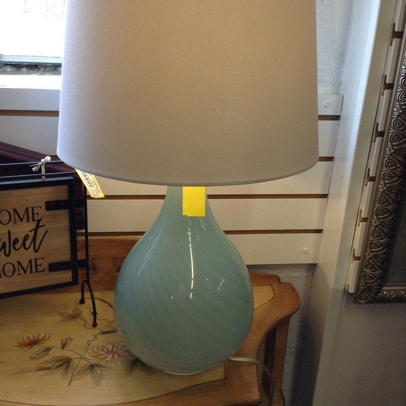 Glass Teal Swirl Lamp, 24.5in H