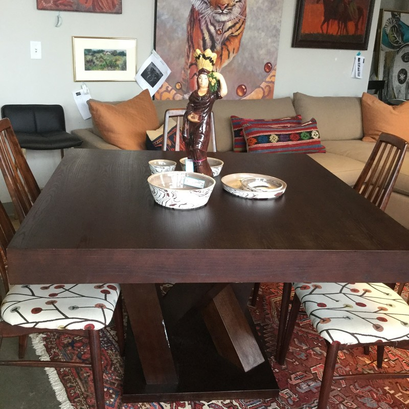 "Square Dining Table, Dark Wood, Size: 47""X47""X30"""