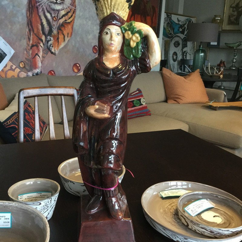 Ceramic Indian Maiden, Brown, Size: 20""