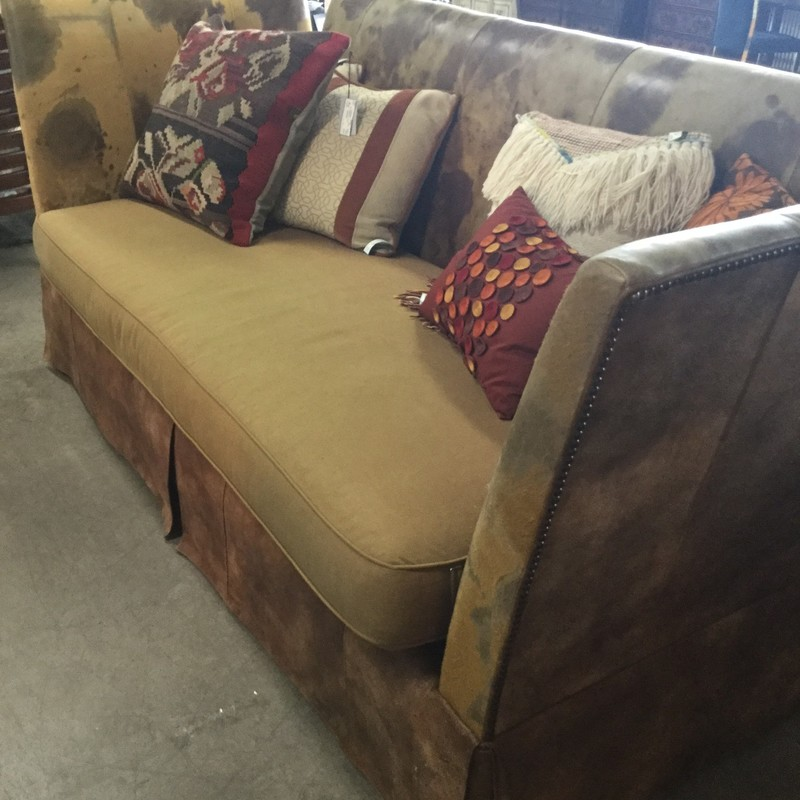 "Large Cowhide Sofa, Cowhide, Size: 90""X40""X40"""