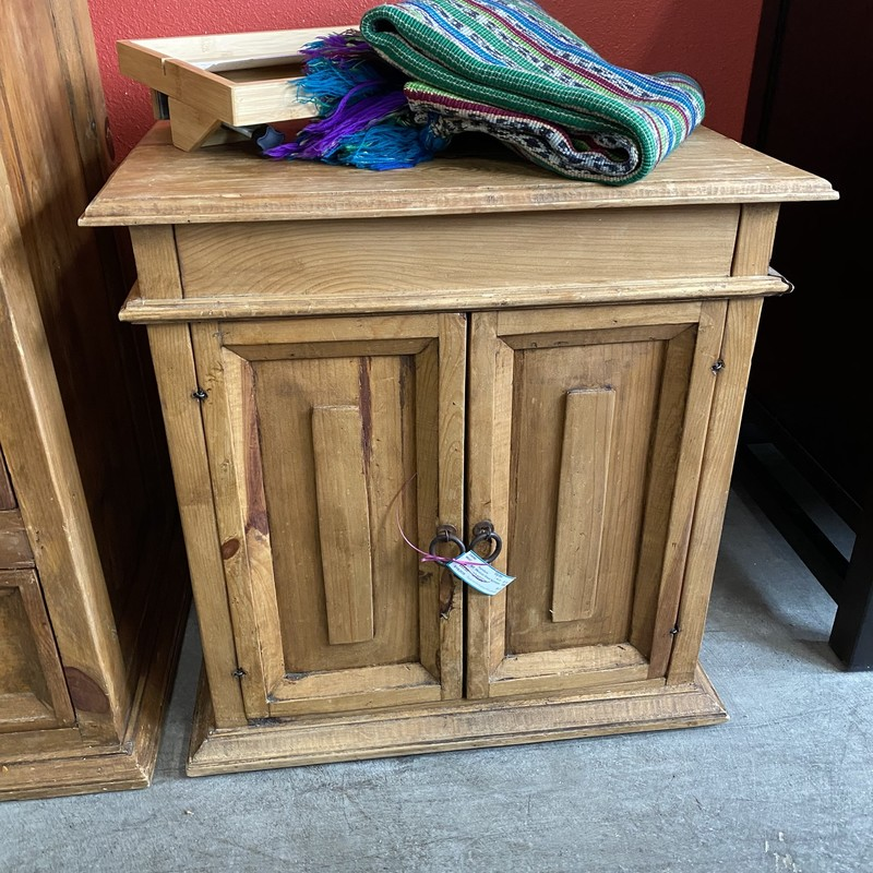 Mexican Wood Nightstand, As Is, Size: 23.19.24