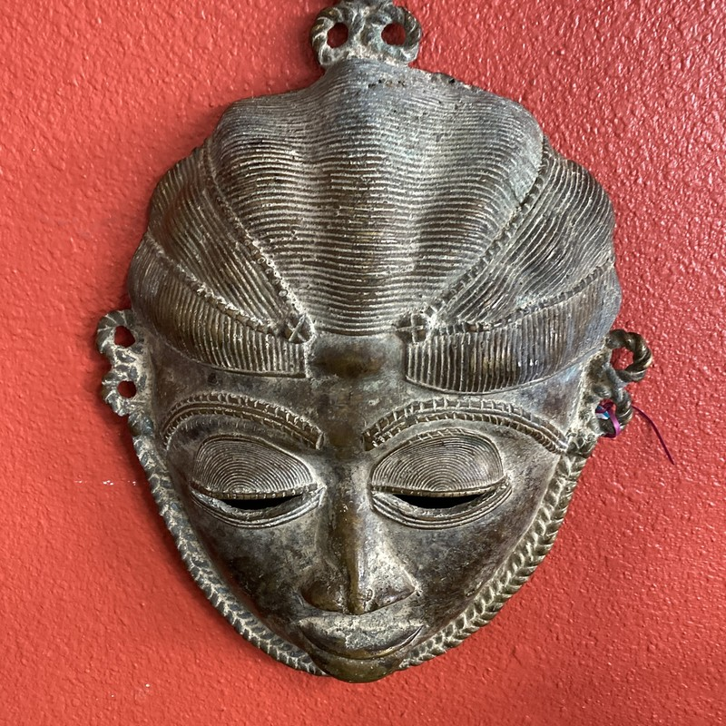 "East Indian Bronze Mask, Bronze, Size: 7""x10"""