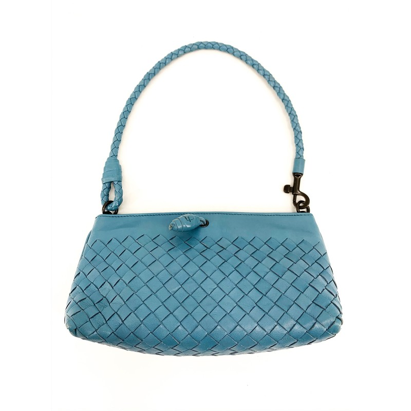 Bottega Veneta Small Teal colored leather shoulder bag<br /> <br /> MEAUREMENTS<br /> <br /> Strap Length: 8 in<br /> Height: 4 in<br /> Width: 8 in
