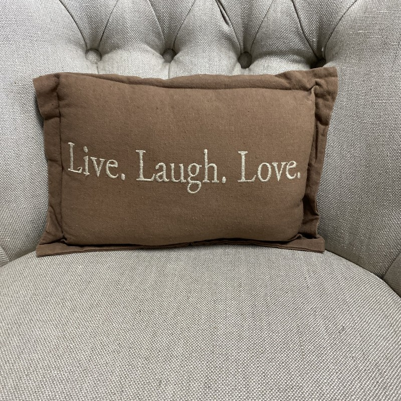 "Live Laugh Love Pillow, Brown, Size: 8""X12"""