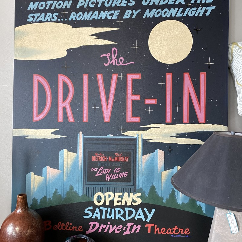 "Drive-In Canvas, Black, Pink, Blue, White, Size: 48""X60"""