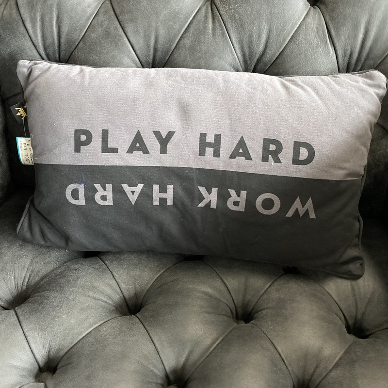 "Pillow/work/play, Grey/blk, Size: 20""12"""