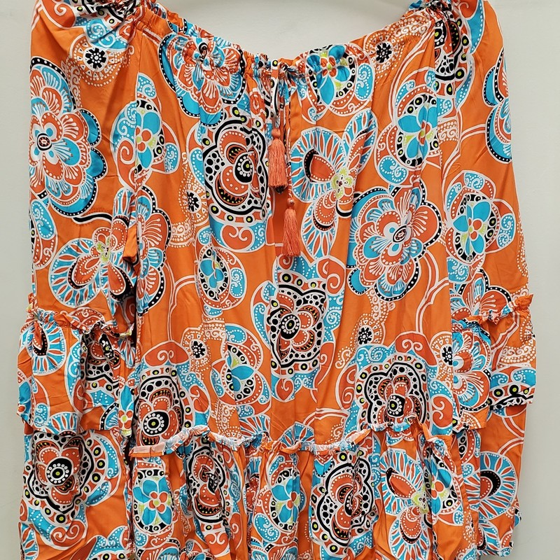 "Crown & Ivy top<br /> creamsicle orange and blue<br /> 1X<br /> ruffled bell sleeve<br /> 1X<br /> Approx. 28"" in length"