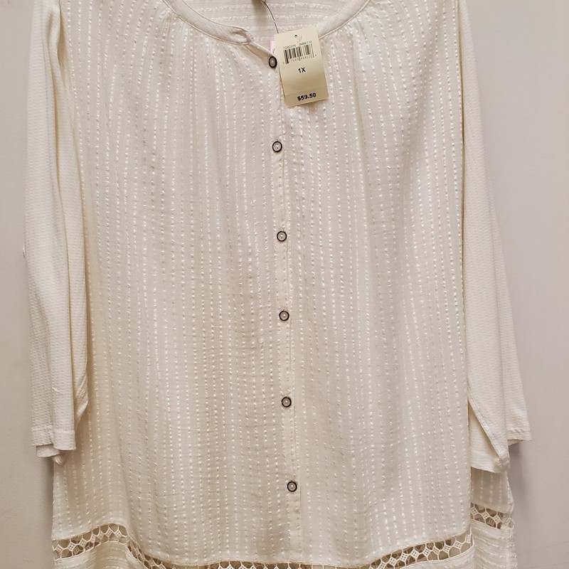 Lucky Brand NWT top<br /> Cream<br /> 1X<br /> Retail $59.50