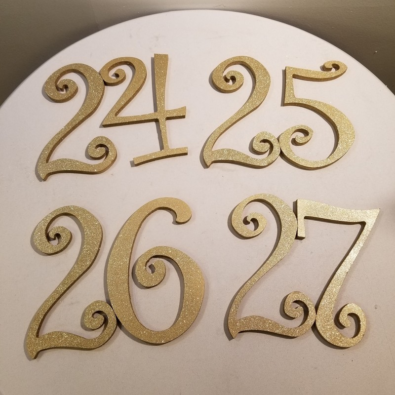 1-27 Glitter Table Numbers, Gold, Size: 8""