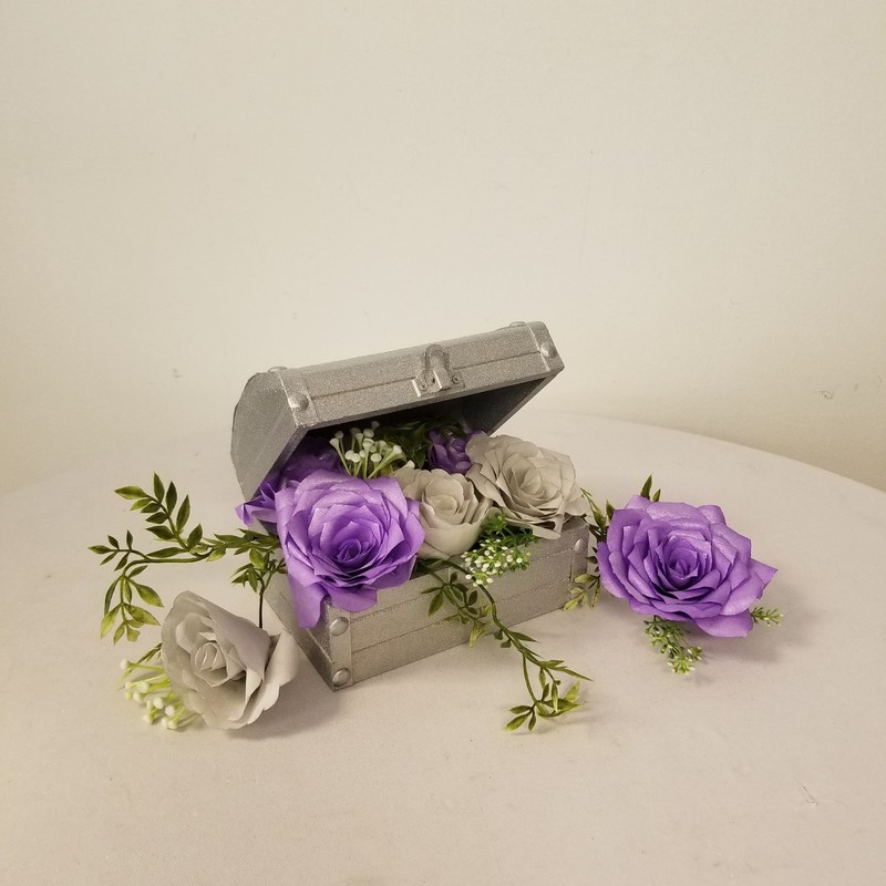 Floral Treasure Box, Silver/Lavender