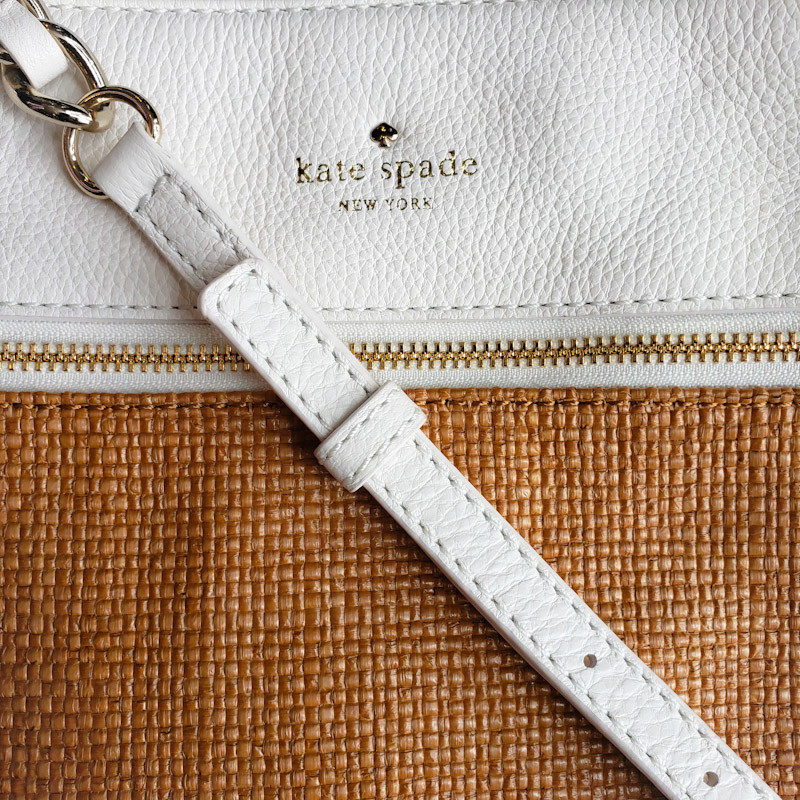 Kate Spade<br /> Leather & Woven<br /> White & Tan<br /> Crossbody<br /> NEW! With Dust Bag!