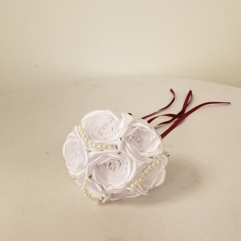 Silk/Jewel Bridesmaid Bouquet, Burgundy/White<br /> 4 More Available In Store