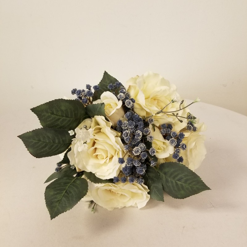 Rose Bouquet, Ivory/Dusty Blue<br /> 3 More Available In Store