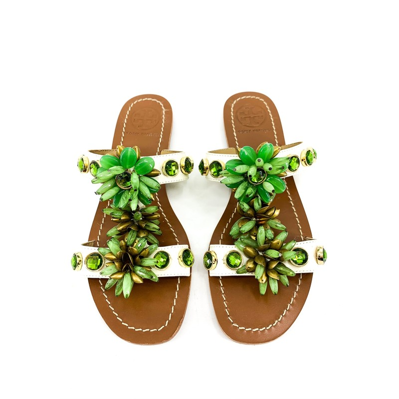Tory Burch Green Jewel Embellished Sandals<br /> <br /> DETAILS<br /> - White straps with green jewels and beaded flowers<br /> - Gold hardware<br /> - Slides<br /> - Size 7<br /> - Condition: Great! Some wear on soles, but interior is clean!