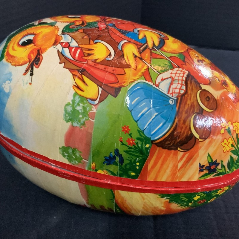 "German made Egg with Duck family. 10""long. 6""w x 6 1/2""h."