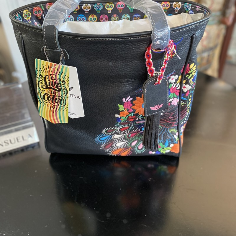 Consuela Classic tote Shady Black Frida<br /> Beautiful Embroidered Peacock