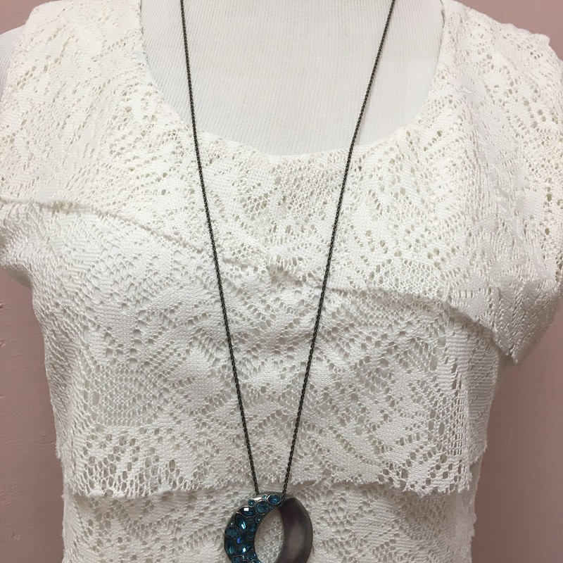 Blue Half Mooon Necklace, Blue, Size: OS