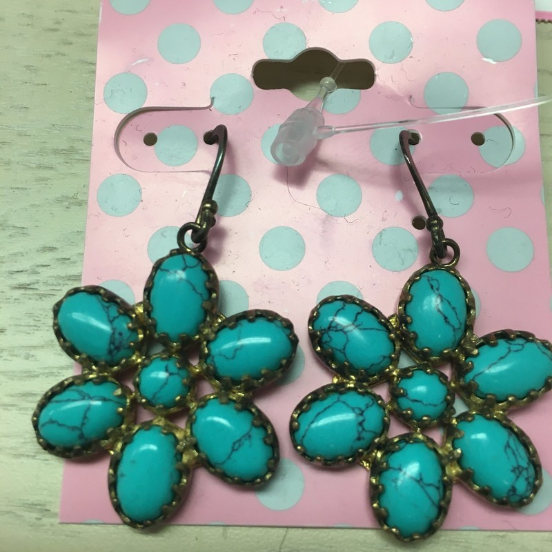 Flower Earrings, Turquios, Size: OS