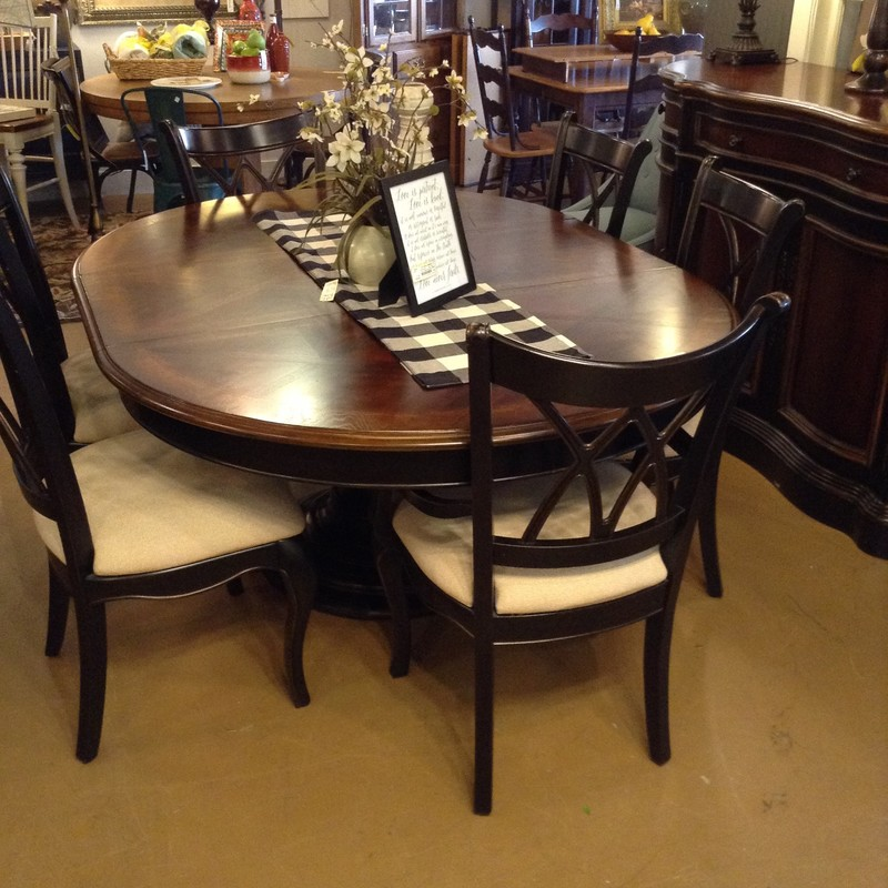 "54"" Round Black Pedestal Cherry Crosshatch Top Table extends to 74"" Oval with Leaf<br /> 53""W x 30""H"