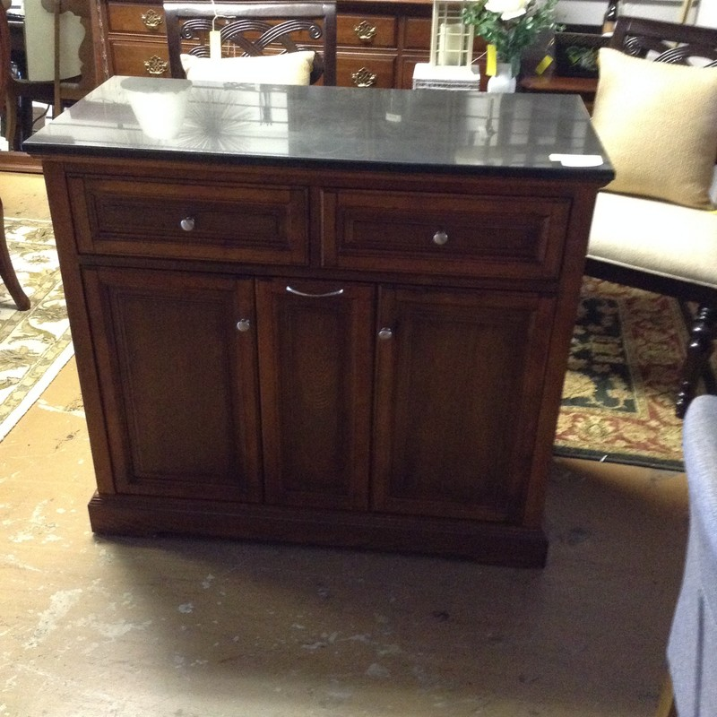"Marble Top Kitchen Island 2 Drawer/2 Door<br /> 41""L x 36.75"" H x 19.5"" D"