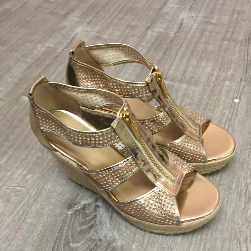 Michael Kors Cork Wedges, Gold, Size: 6