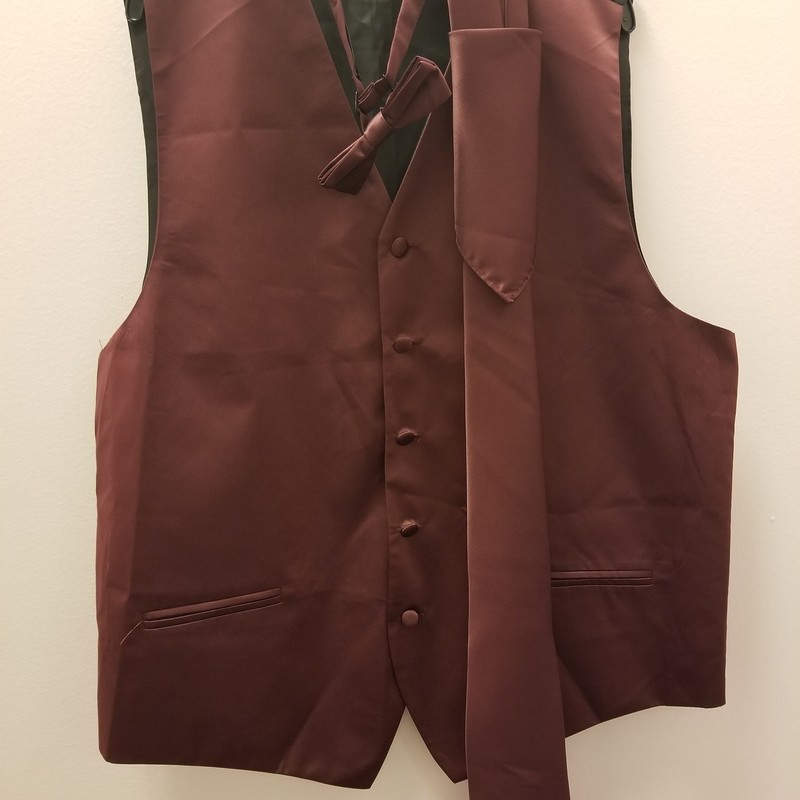 Mens Vest 4 Pc Set, Burgundy, Size: M<br /> 2 More Available In Store