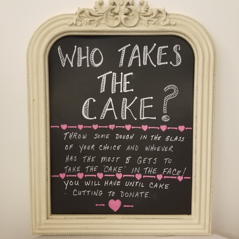 WhoTakes The Cake? Sign, Black/Ivory, Size: 18x23