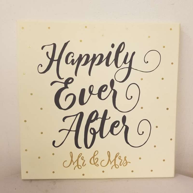 Happily Ever After Sign, Ivory, Size: 12x12