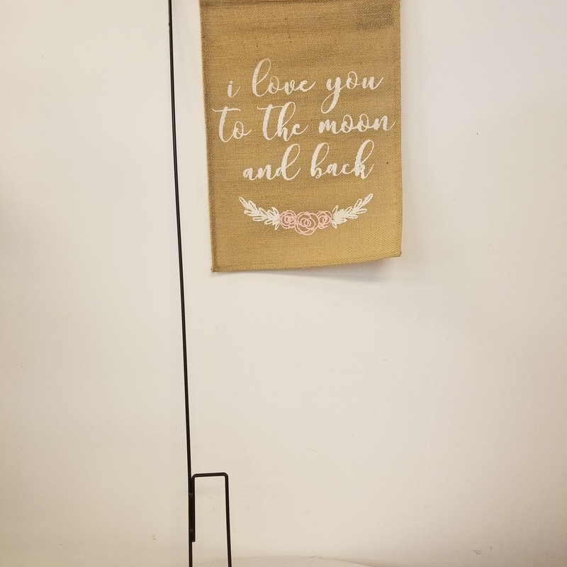 "Aisle Banner W/ Stand, Burlap, Size: 36""<br /> ""I Love You To The Moon And Back""<br /> Other Sayings Available In Store"