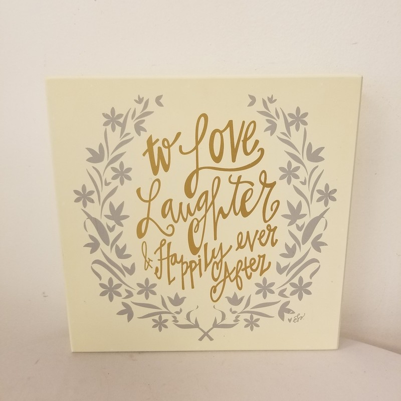 Love, Laughter Sign, Ivory, Size: 12x12