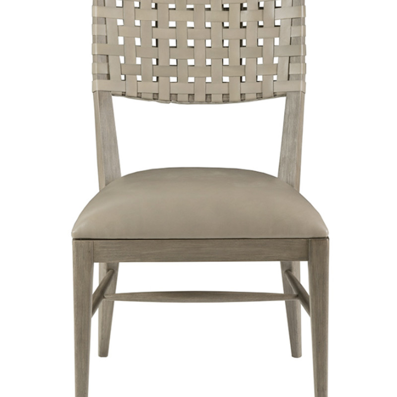 "Milo Designer Chair. Very comfortable. Mahogany woods and woven leather back with upholstered seat in a warm gray tone.<br /> 22.5L"" x 20W"" x 32.25""H"