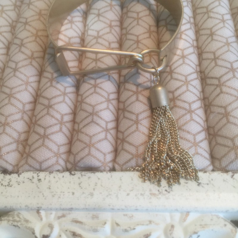 Gold Cuff Brclet With Fringe Tassel