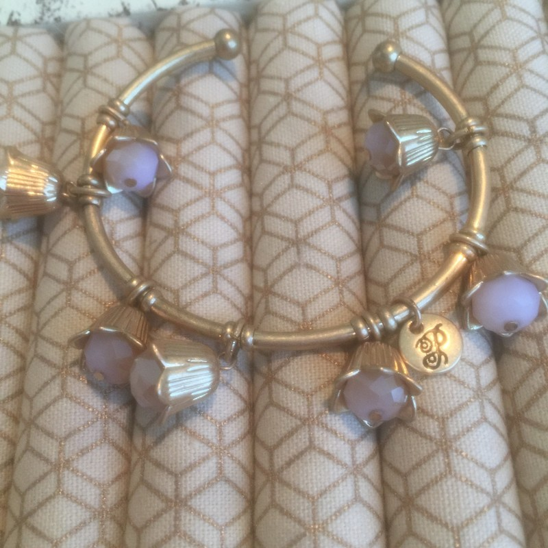 Gold Pnk Cuff Brclet