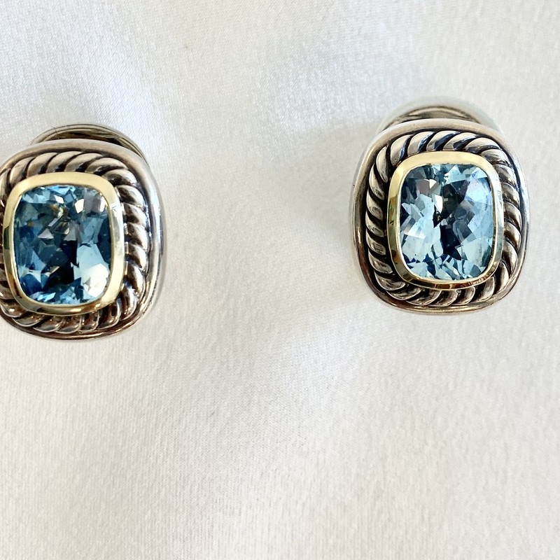 David Yurman lever back earrings<br /> orig ret $1100<br /> albion blue topaz<br /> sterling and 14k