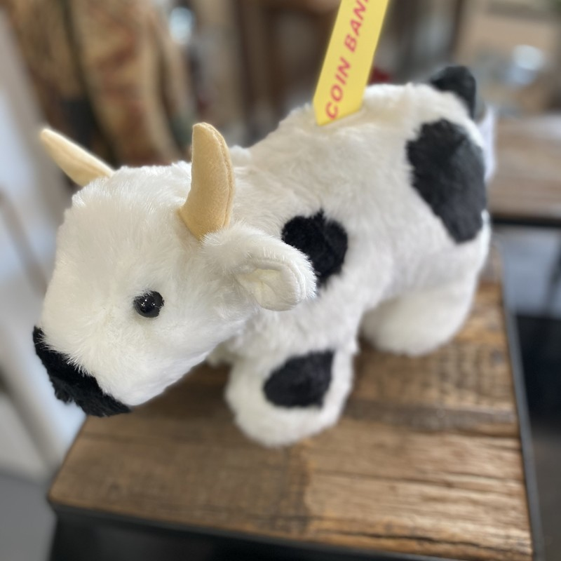 Black and White Cow coin bank soft and cuddly.