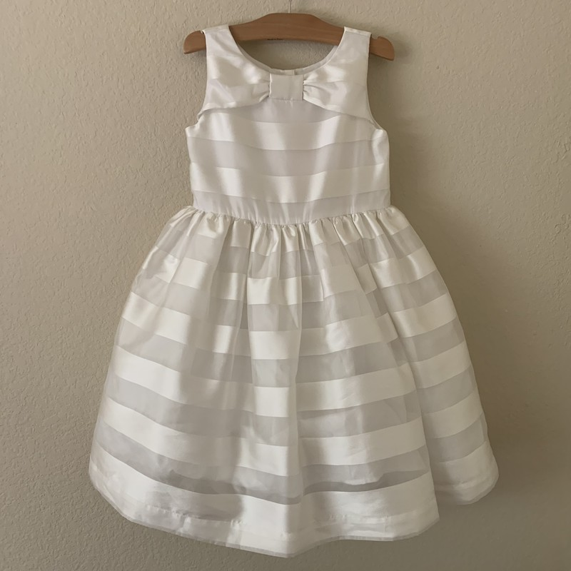 Special occasion dress with satin & organza stripes, lined with tulle ruffle pettiskirt for fullness