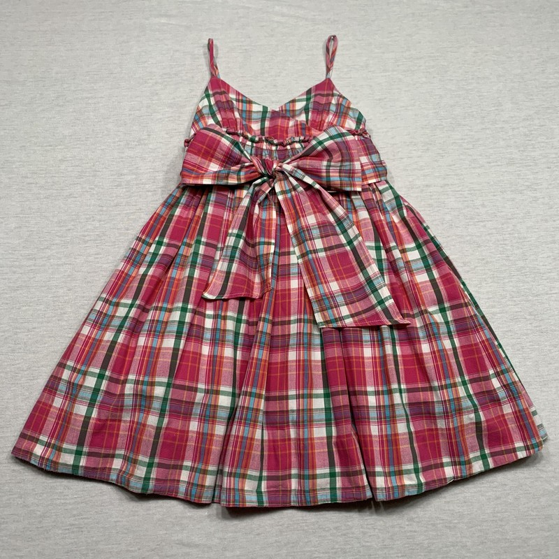 Plaid sundress with ruffle lining for volume & like fabric sash