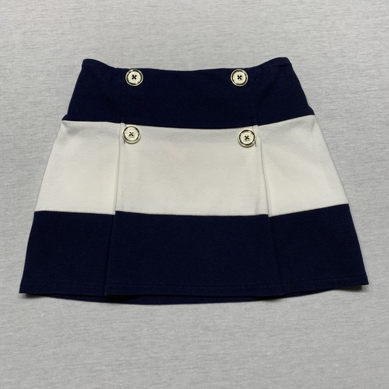 color band knit skirt with decorative buttons