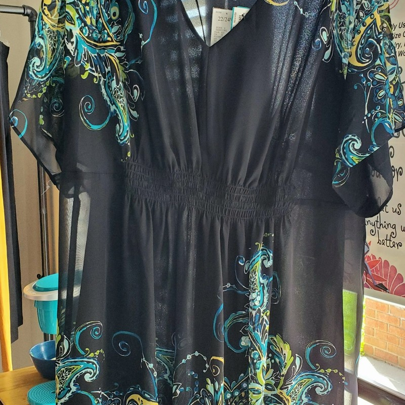 Lane Bryant NWT<br /> Short sleeve/sheer with lining<br /> Black and teal<br /> Size 22/24<br /> Retail $59.50