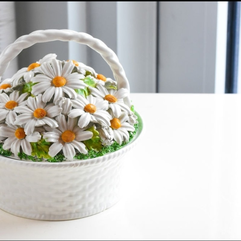 Beautiful porcelain Mottahedeh Daisy Basket!