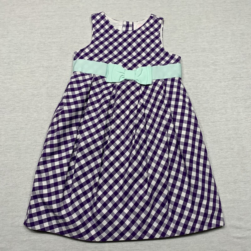 Gingham dress with grosgrain ribbon at the waist & full lining