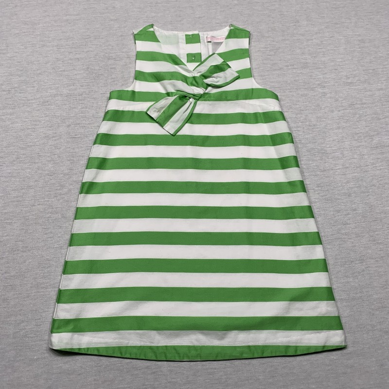 Striped dress with bow at neck & full lining