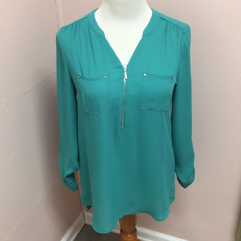 Apt 9 Zipper Blouse, Teal, Size: Small