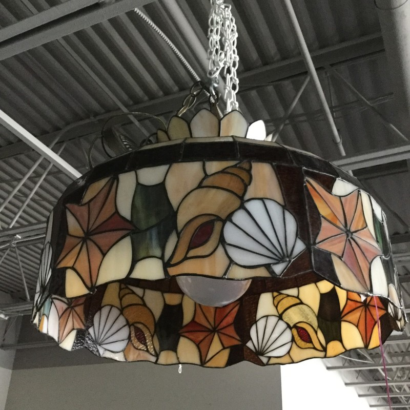 "Leaded Glass Hanging Light, Shells, Size: 24"" Diam"